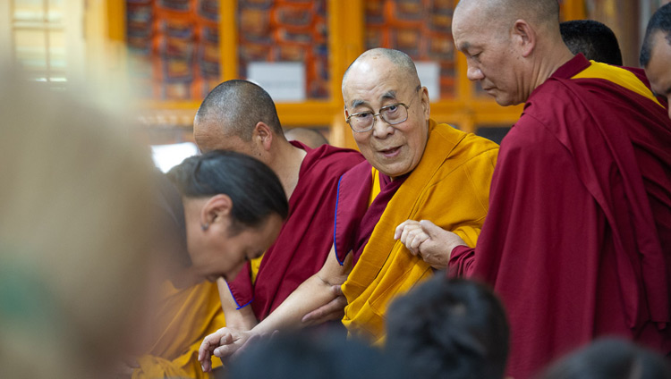 His Holiness the Dalai Lama arriving at the Main Tibetan Temple for the second day of his teachings in Dharamsala, HP, India on May 11, 2019. Photo by Lobsang Tsering