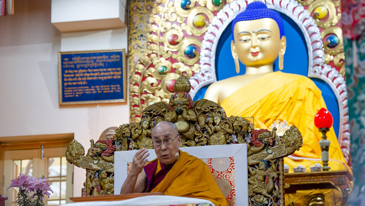 His Holiness the Dalai Lama addressing the gathering on the second day of his teachings at the Main Tibetan Temple in Dharamsala, HP, India on May 11, 2019. Photo by Lobsang Tsering