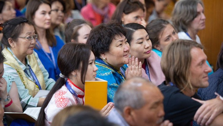 Members of the audience listening to His Holiness the Dalai Lama on the second day of his teachings requested by Russian Buddhists at the Main Tibetan Temple in Dharamsala, HP, India on May 11, 2019. Photo by Lobsang Tsering
