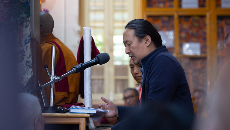 The Russian interpreter translating His Holiness the Dalai Lama's explanations during the second day of teachings requested by Russian Buddhists at the Main Tibetan Temple in Dharamsala, HP, India on May 11, 2019. Photo by Lobsang Tsering