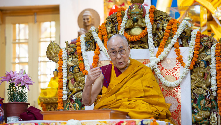 His Holiness the Dalai Lama speaking on the final day of his teachings at the Main Tibetan Temple in Dharamsala, HP, India on May 12, 2019. Photo by Lobsang Tsering