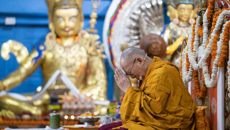 His Holiness the Dalai Lama conducting the ceremony for generating the awakening mind on the final day of his teachings at the Main Tibetan Temple in Dharamsala, HP, India on May 12, 2019. Photo by Lobsang Tsering