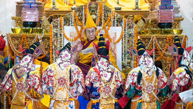 Namgyal Monastery monks performing Dakini rituals as part of the Long Life Offering prayers for His Holiness the Dalai Lama at the Main Tibetan Temple in Dharamsala, HP, India on May 17, 2019. Photo by Tenzin Choejor