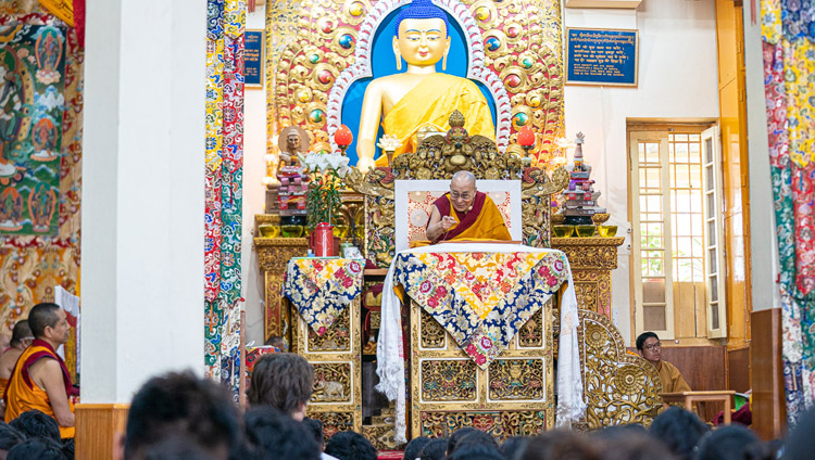 His Holiness the Dalai Lama addressing Tibetan students sitting in the Main Tibetan Temple during his teaching for young Tibetans in Dharamsala, HP, India on June 3, 2019. Photo by Tenzin Choejor