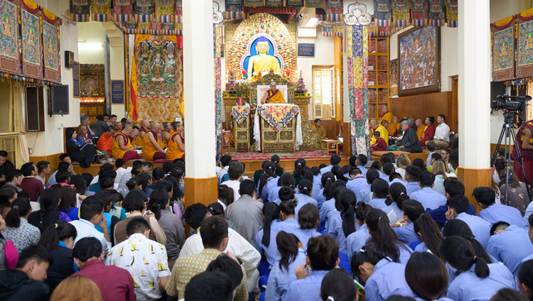 A view of the Main Tibetan Temple filled with some of the 1200 Tibetan students attending His Holiness the Dalai Lama's teaching for young Tibetans in Dharamsala, HP, India on June 3, 2019. Photo by Tenzin Choejor