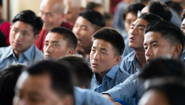 Tibetan students listening to His Holiness the Dalai Lama's teaching for young Tibetans at the Main Tibetan Temple in Dharamsala, HP, India on June 3, 2019. Photo by Tenzin Choejor