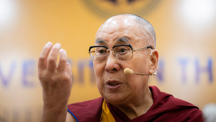 """His Holiness the Dalai Lama speaking at the conference on """"Celebrating Diversity in the Muslim World"""" at the India International Centre in New Delhi, India on June 15, 2019. Photo by Tenzin Choejor"""