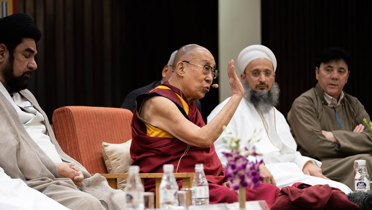 "His Holiness the Dalai Lama speaking at the conference on ""Celebrating Diversity in the Muslim World"" at the India International Centre in New Delhi, India on June 15, 2019. Photo by Tenzin Choejor"