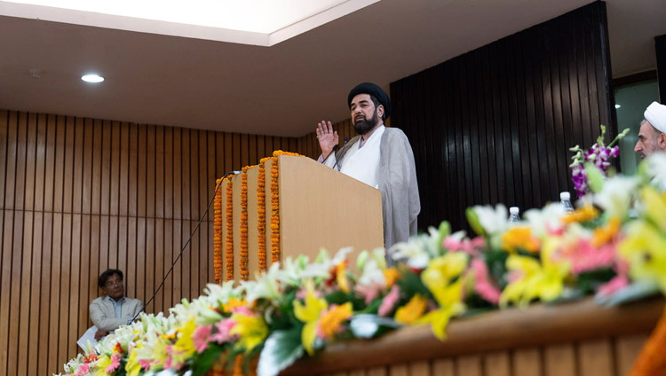 """Maulana Syed Kalbi Jawad Naqavi, a Shia teacher from Lucknow, speaking at the conference on """"Celebrating Diversity in the Muslim World"""" at the India International Centre in New Delhi, India on June 15, 2019. Photo by Tenzin Choejor"""