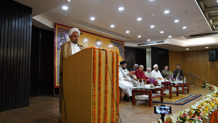 "Dr Mohammed Husain Mokhtari, Chancellor of University of Islamic Denomination or Madhaheb University in Tehran, Iran speaking at the conference on ""Celebrating Diversity in the Muslim World"" at the India International Centre in New Delhi, India on June 15, 2019. Photo by Tenzin Choejor"