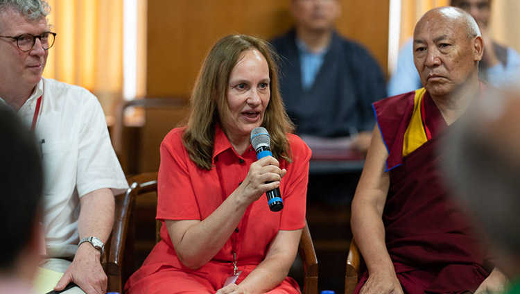 Project Coordinato Margarita Kozhevnikova introducing the the conference on Human Education in the Third Millennium to His Holiness the Dalai Lama and observers at his residence in Dharamsala, HP, India on July 8, 2019. Photo by Tenzin Choejor