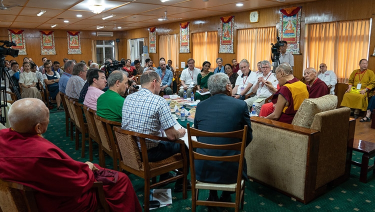 His Holiness the Dalai Lama speaking to educators participating in the conference on Human Education in the Third Millennium duing their meeting at his residence in Dharamsala, HP, India on July 8, 2019.