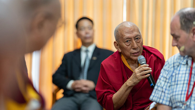 Ven Samdhong Rinpoche talking about the upcoming teacher training course in conjunction with Dharamsala College during the meeting with participants to the conference on Human Education in the Third Millennium at His Holiness the Dalai Lama's residence in Dharamsala, HP, India on July 8, 2019. Photo by Tenzin Choejor