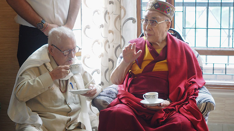 His Holiness the Dalai Lama stopping to join an old friend for tea at his house in Mandi on his way to Manali, HP, India on August 10, 2019. Photo by Jeremy Russell
