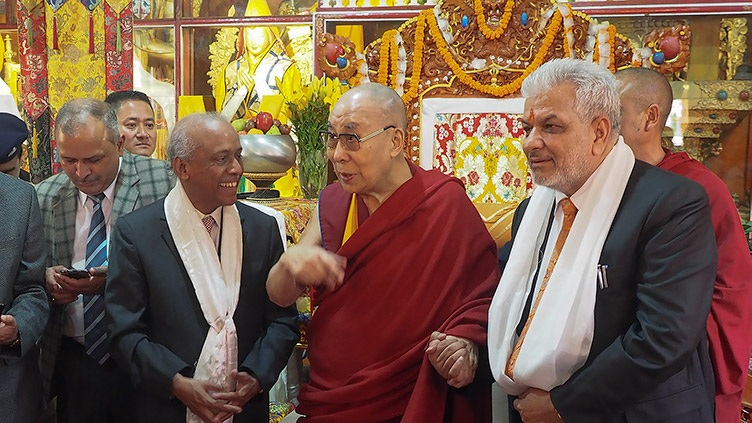 His Holiness the Dalai Lama with Chief Justice V Ramasubramanian, to his right, and Justice Dharam Chand Chaudhary, to his left, of the Himachal Pradesh High Court, who visited him at Ön Ngari Monastery in Manali, HP, India on August 10, 2019. Photo by Jeremy Russell