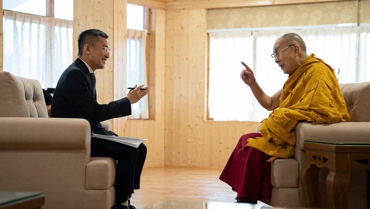 His Holiness the Dalai Lama being interviewed by Hakka Television of Taiwan at Ön Ngari Monastery in Manali, HP, India on August 14, 2019. Photo by Tenzin Choejor