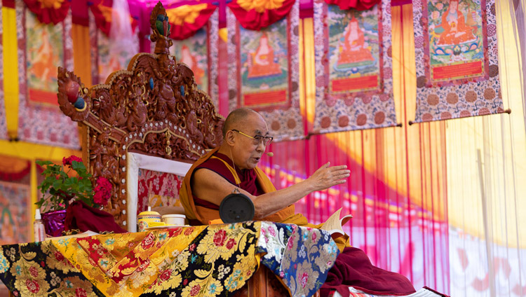 His Holiness the Dalai Lama speaking on the second day of his teachings in Manali, HP, India on August 14, 2019. Photo by Tenzin Choejor