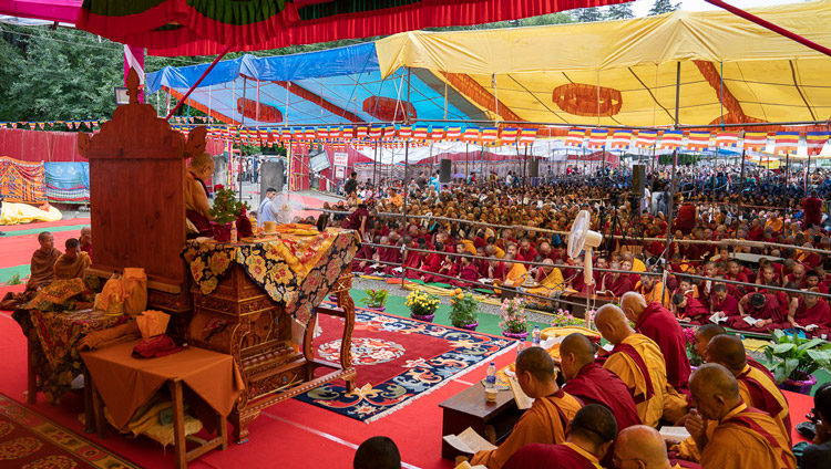 A view from the stage on the second day of His Holiness the Dalai Lama's teachings in Manali, HP, India on August 14, 2019. Photo by Tenzin Choejor