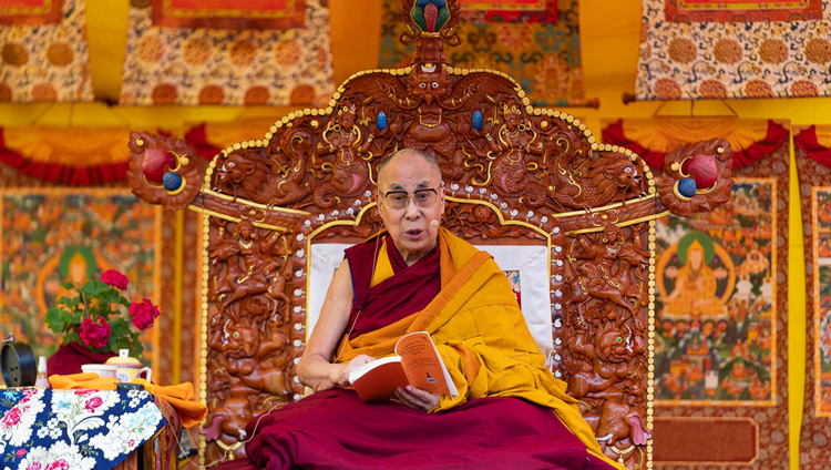 "His Holiness the Dalai Lama explaing Nagarjuna's ""Commentary on the Awakening Mind"" on the second day of his teachings in Manali, HP, India on August 14, 2019. Photo by Tenzin Choejor"