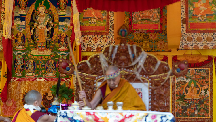 His Holiness the Dalai Lama performing preparatory rituals for the Empowerment of Mahakarunika Lokeshvara in Manali, HP, India on August 17, 2019. Photo by Tenzin Choejor