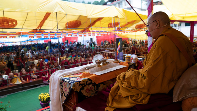 His Holiness the Dalai Lama addressing the crowd during the Empowerment of Mahakarunika Lokeshvara in Manali, HP, India on August 17, 2019. Photo by Tenzin Choejor