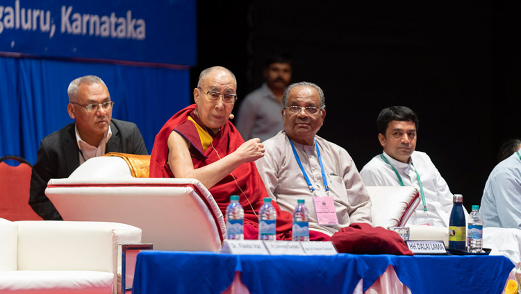 His Holiness the Dalai Lama addressing the morning session of the 52nd National Convention of the All India Association of Catholic Schools in Mangaluru, Karnataka, India on August 30, 2019. Photo by Tenzin Choejor