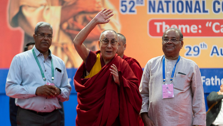 His Holiness the Dalai Lama waving to the audience at the conclusion of the morning session of the 52nd National Convention of the All India Association of Catholic Schools in Mangaluru, Karnataka, India on August 30, 2019. Photo by Tenzin Choejor