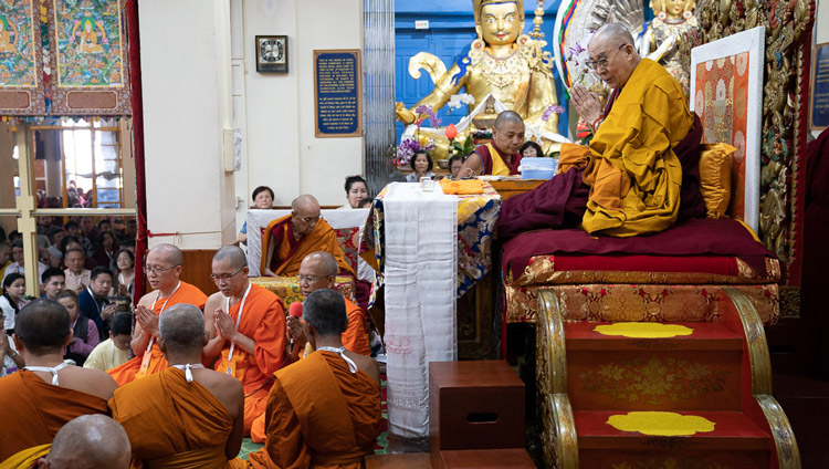 Thai monks chanting a homage to the Buddha in Pali at the start of the first day of His Holiness the Dalai Lama's teachings at the Main Tibetan Temple in Dharamsala, HP, India on September 4, 2019. Photo by Tenzin Choejor