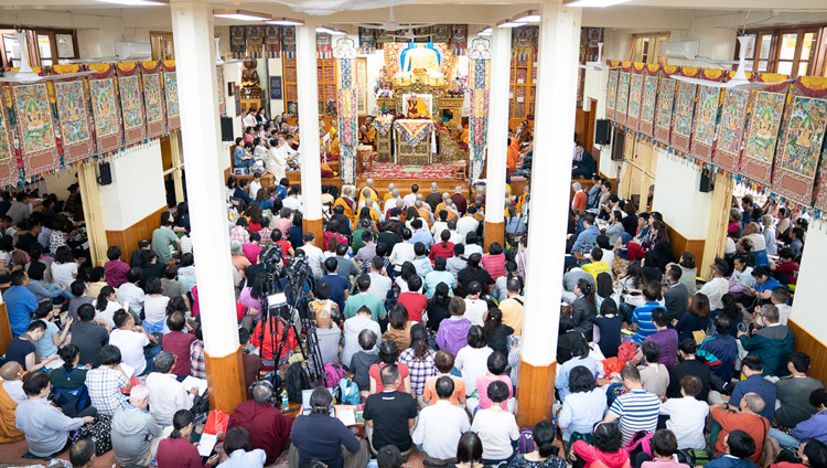 A view of inside the Main Tibetan Temple on the first day of His Holiness the Dalai Lama's teachings in Dharamsala, HP, India on September 4, 2019. Photo by Tenzin Choejor