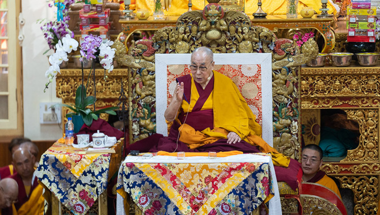 His Holiness the Dalai Lama speaking on the first day of his teachings at the Main Tibetan Temple in Dharamsala, HP, India on September 4, 2019. Photo by Tenzin Choejor