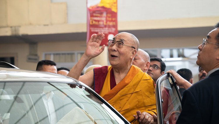 His Holiness the Dalai Lama waving to the crowd as he prepares to depart for his residence at the conclusion of the first day of his teachings at the Main Tibetan Temple in Dharamsala, HP, India on September 4, 2019. Photo by Tenzin Choejor