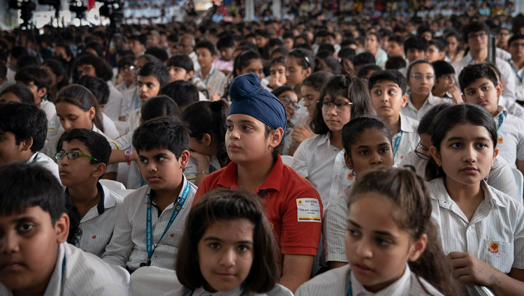 Some of the 2400 students from 84 shcools listening to His Holiness the Dalai Lama during his talk at Shri Ram School in New Delhi, India on September 20, 2019. Photo by Tenzin Choejor