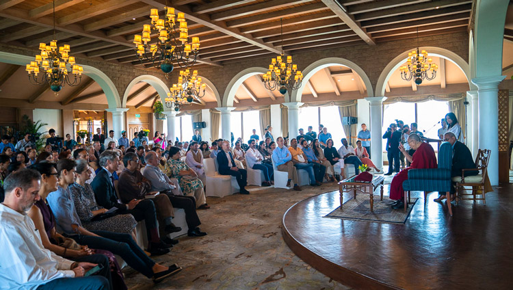 His Holiness the Dalai Lama answering questions from the audience during his meeting with intellectuals, academics and diplomats at the Taj Hotel in New Delhi, India on September 21, 2019. Photo by Tenzin Choejor