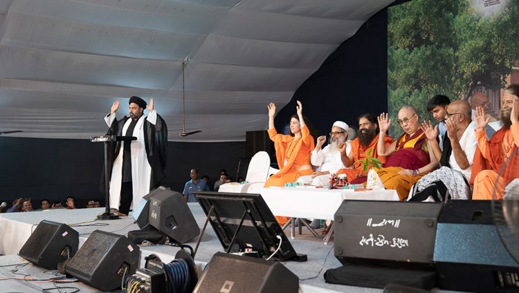Maulana Kokab Muharram of the Shia tradition speaking during the interfaith program at Gandhi Ashram in New Delhi, India on September 25, 2019. Photo by Tenzin Choejor