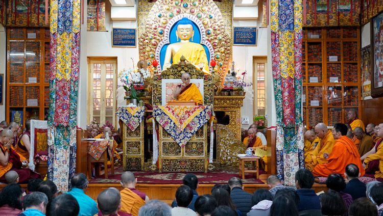 His Holiness the Dalai Lama addressing the gathering on the second day of teachings requested by a group from Taiwan at the Main Tibetan Temple in Dharamsala, HP, India on October 4, 2019. Photo by Ven Tenzin Jamphel