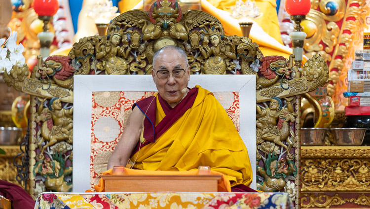 His Holiness the Dalai Lama spaking on the secon day of teachings at the Main Tibetan Temple in Dharamsala, HP, India on October 4, 2019. Photo by Ven Tenzin Jamphel