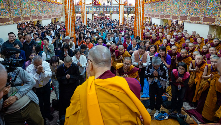 His Holiness the Dalai Lama arriving inside the Main Tibetan Temple on the final day of his three day teaching given at the request of a group from Taiwan in Dharamsala, HP, India on October 5, 2019. Photo by Ven Tenzin Jamphel