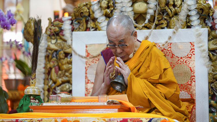 His Holiness the Dalai Lama completing preparatory procedures for the Mahamayuri permission to be given at te end of the final day of teachings at the Main Tibetan Temple in Dharamsala, HP, India on October 5, 2019. Photo by Ven Tenzin Jamphel