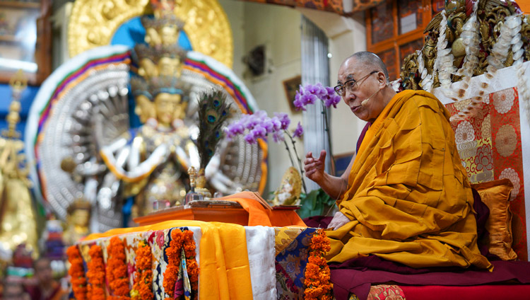 His Holiness the Dalai Lama addressing the gathering on the final day of teachings at the Main Tibetan Temple in Dharamsala, HP, India on October 5, 2019. Photo by Ven Tenzin Jamphel