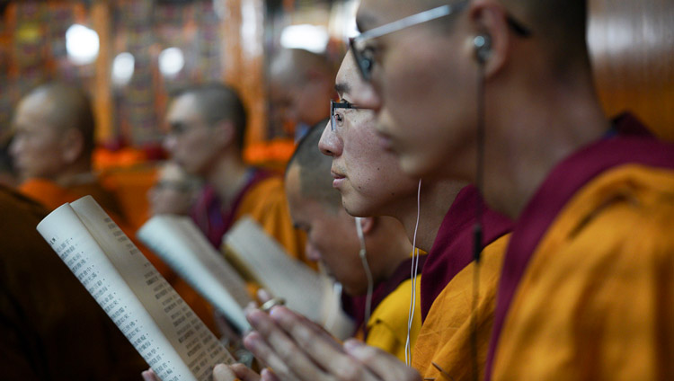 Monks from Taiwan foolowing the text on the final day of His Holiness the Dalai Lama's teachings at the request of a group from Taiwan at the Main Tibetan Temple in Dharamsala, HP, India on October 5, 2019. Photo by Ven Tenzin Jamphel