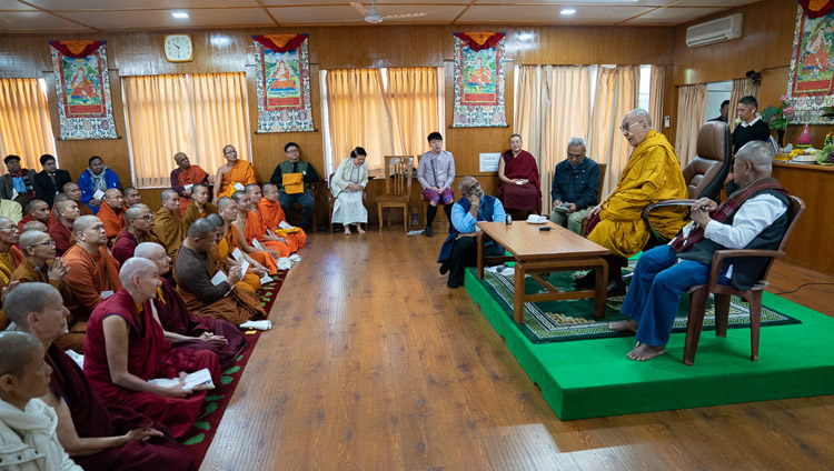 His Holiness the Dalai Lama speaking to members of the International Network of Engaged Buddhists at his residence in Dharamsala, HP, India on October 21, 2019. Photo by Tenzin Choejor