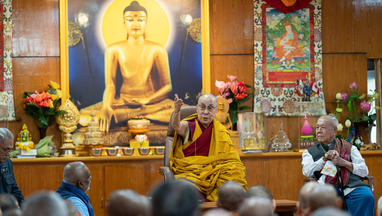 His Holiness the Dalai Lama addressing embers of the International Network of Engaged Buddhists during their meeting at his residence in Dharamsala, HP, India on October 21, 2019. Photo by Tenzin Choejor