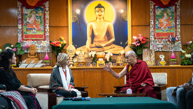 His Holiness the Dalai Lama explaining a point to Nancy Lindborg, President of the United States Institute of Peace, organizers of the conversation with young peacebuilders at his residence in Dharamsala, HP, India on October 23, 2019. Photo by Tenzin Choejor