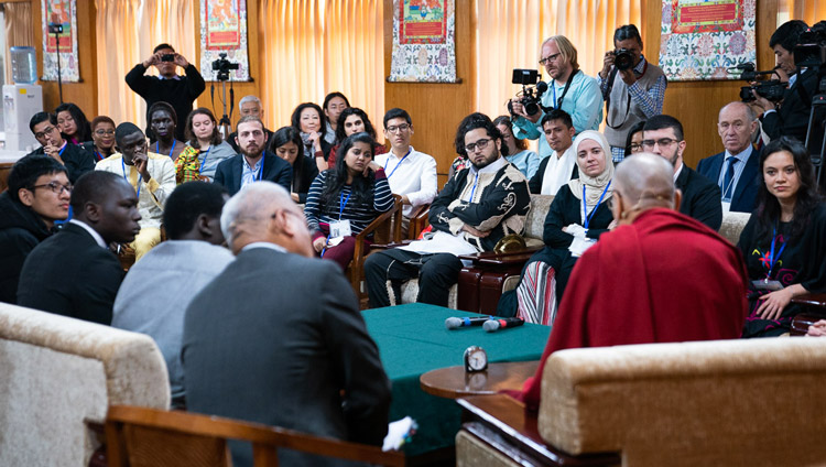 His Holiness the Dalai Lama and youth leaders from 11 conflict affected countries discussing how to make peace possilbe on the first day of their conversation at his residence in Dharamsala, HP, India on October 23, 2019. Photo by Tenzin Choejor