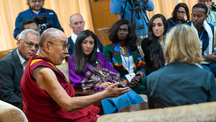 His Holiness the Dalai Lama addressing youth leaders from countries disturbed by conflict on the second day of conversation with peacebuilders at his residence in Dharamsala, HP, India on October 24, 2019. Photo by Tenzin Choejor