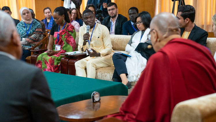 His Holiness the Dalai Lama listening to a question from one of the youth leaders on the second day of the conversation with young peace builders at his residence in Dharamsala, HP, India on October 24, 2019. Photo by Tenzin Choejor