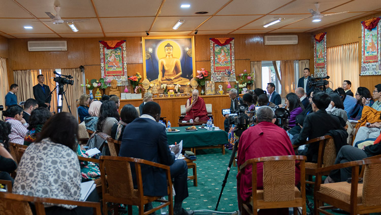 A view of the hall on the second day of His Holiness the Dalai Lama's conversation with young peacebuilders organized by the United States Institute of Peace at his residence in Dharamsala, HP, India on October 24, 2019. Photo by Tenzin Choejor