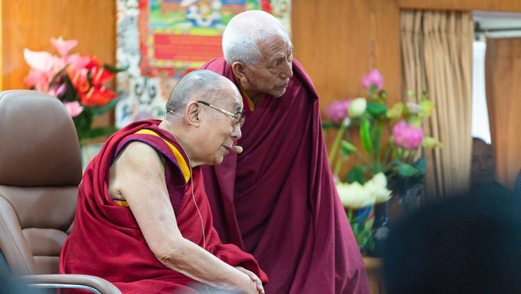 Ven Prof Samdhong Rinpoche translating a question asked by a student in Hindi for His Holiness the Dalai Lama during his meeting with students at his residence in Dharamsala, HP, India on October 25, 2019. Photo by Tenzin Choejor