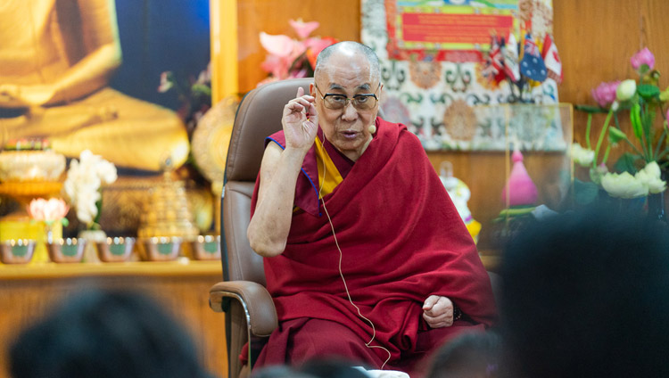 His Holiness the Dalai Lama answering a question from the audience during his meeting with students from North Indian universities at his residence in Dharamsala, HP, India on October 25, 2019. Photo by Tenzin Choejor