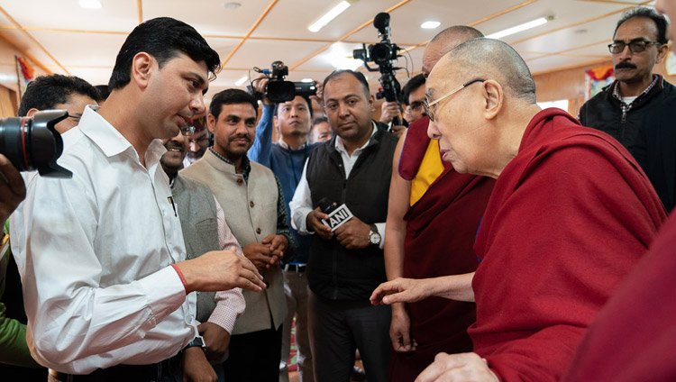 His Holiness the Dalai Lama interacting with members of the media after his meeting with students from North Indian universities at his residence in Dharamsala, HP, India on October 25, 2019. Photo by Tenzin Choejor